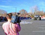 Fox 13 on the air as TH Bell Jr. High recycles aluminum with a monster truck.