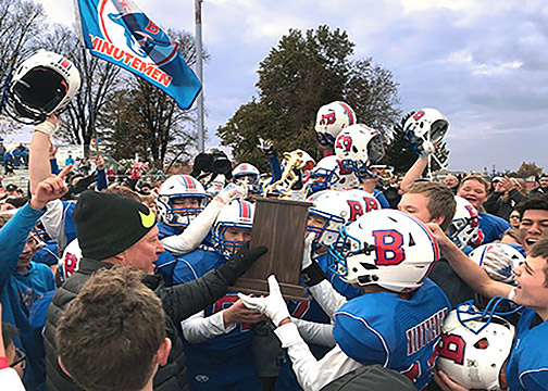 Presentation of the WSD Football Championship trophy to T.H. Bell Minutemen (Courtsey of Bell's Twitter)