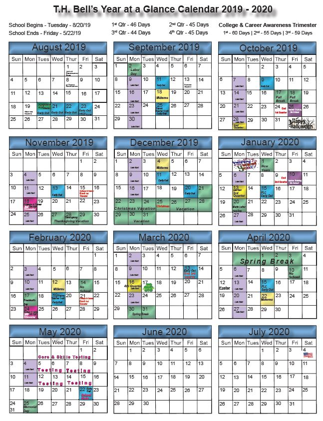 Bell at a Glance 2019-2020 Year Long Calendar